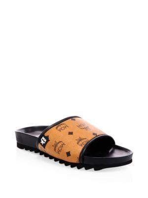 77eebdf86d8b MCM Monogram Faux-Leather Slides.  mcm  shoes