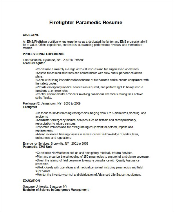 7 Firefighter Resume Templates Firefighter Resume Cover Letter