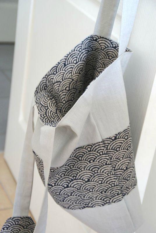Tote bag // tissu japonais et lin // frénésie et moi