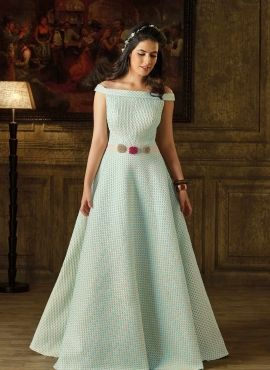 598f0c393ae Blue Imported Fabric Readymade Designer Gown 718417