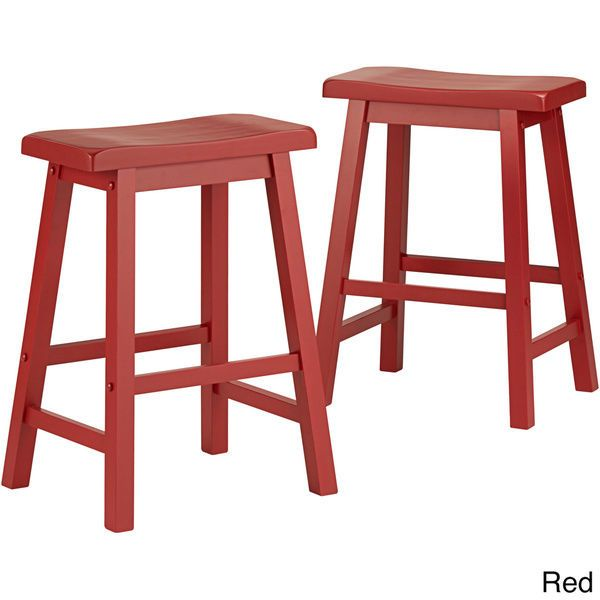 This Bar Stool Saddle Back makes a charming addition to your breakfast bar or entertainment area, instantly offering more seating for your family or guests. Each hand distressed stool features beautiful solid Asian rubberwood construction with a cherry wood finish that adds a warm and inviting look. This 24-inch stool set stands at standard counter height, ideal for family members of all ages.