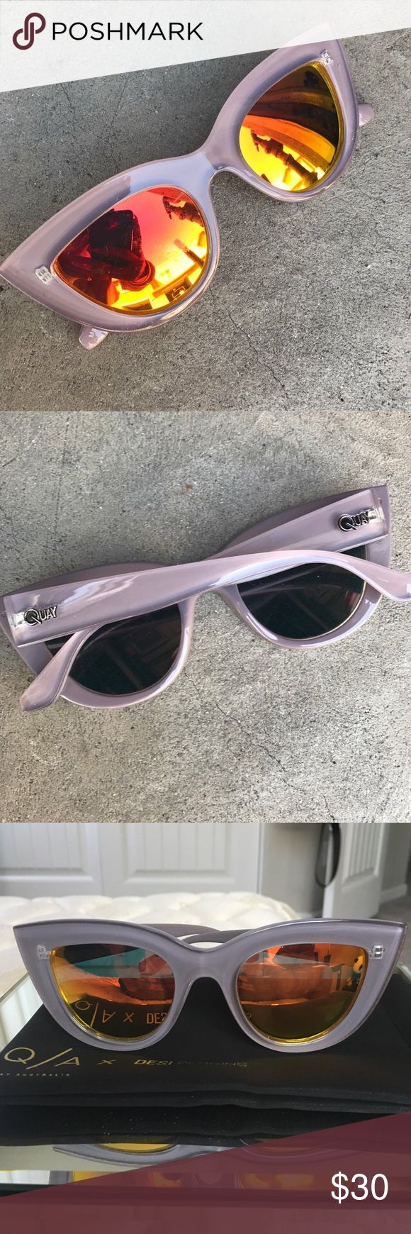 """Quay """"kitti"""" sunglasses Adorable Quay brand sunglasses, lavender colored, popular cat-eye style, with warm reflective lenses. Perfect for summer! Selling because they don't fit my nose bridge, last pic is from website to show how they look on, comes with case. Quay Australia Accessories Sunglasses"""