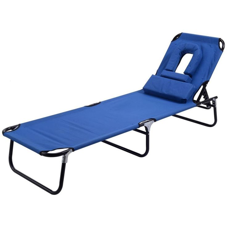 Folding Outdoor Chaise Lounge Chairs for Pool Patio or Beach w/ head rest