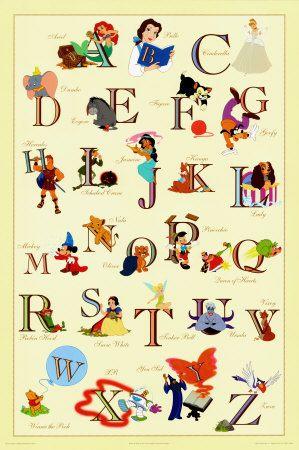 Disney Alphabet. A. Ariel, B. Belle, C. Cinderella, D. Dumbo, E. Eeyore, F. Figuro, G. Goofy, H. Hercules, I. Ichabod Crane, J. Jasmine, K. Kanga, L. Lady, M. Mickey, N. Nala, O. Oliver, P. Pinocchio, Q. Queen of Hearts, R. Robin Hood, S. Snow White, T. Tinker Bell, U. Ursula, V. Vixey, W. Winnie the Pooh, X. XR, Y. Yen Sid, Z. Zazu.
