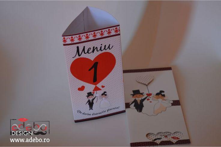 Va prezentam astazi un model de meniu (Numar masa si meniu nunta Adebo) pentru nunta cu numar de masa inclus, meniu de nunta cu elemente romanesti, meniu traditional romanesc cu buline si inimioare pentru ca dragostea pluteste in aer, simtiti? ?