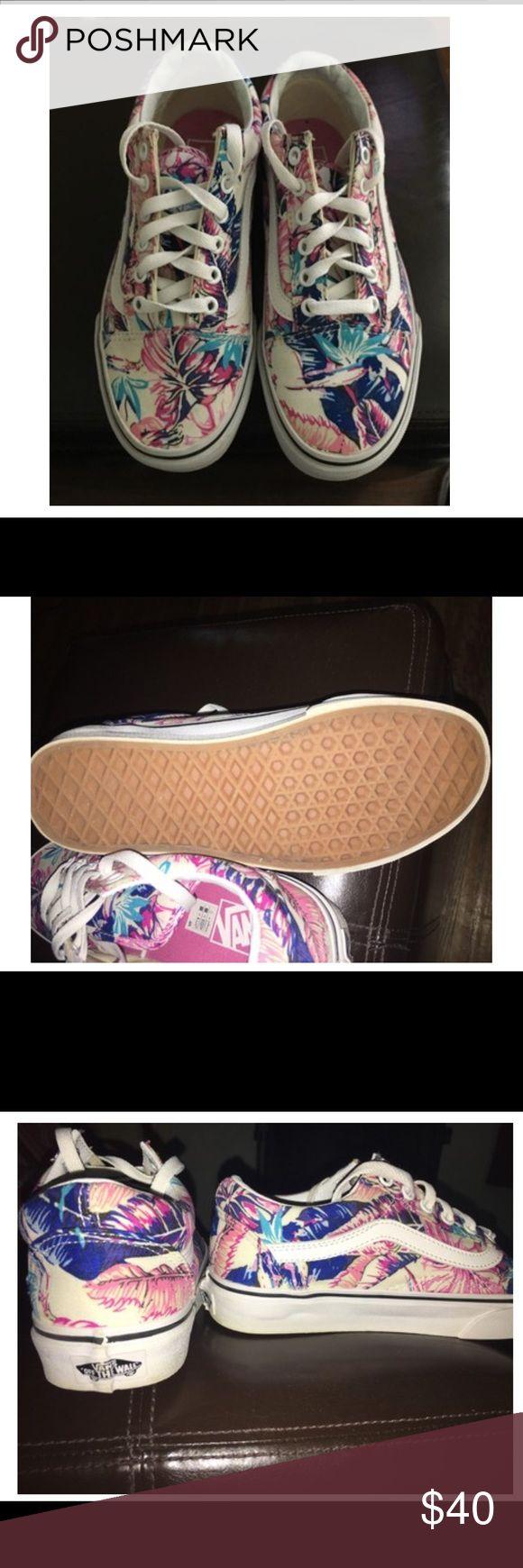 Vans Sneakers!  Low Top New conditions. Low top vans. Unique tropical floral pattern. Size is 6.5 women. Vans Shoes Sneakers