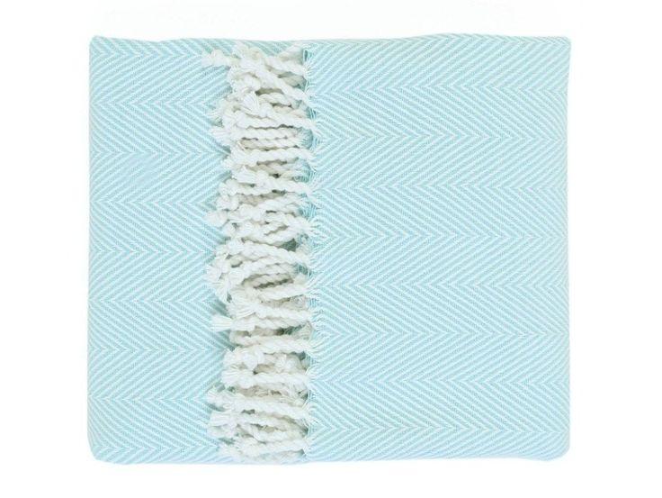Fabio Duck Egg Cotton Throw - 100% cotton throw featuring a subtle zig zag pattern and tassel fringe.