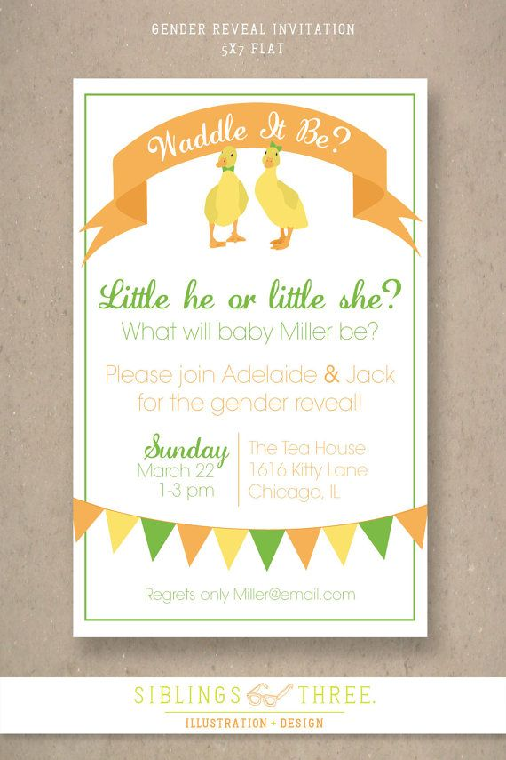 Waddle It Be? Printable Baby Gender Reveal Party Invitation | Gender ...