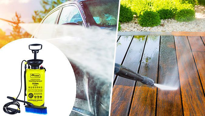 Buy 8L High Pressure Washer & Sprayer - With Brush Attachment UK deal for just: £11.99 Keep your car squeaky clean with the Professional 8L Portable High-Pressure Washer      Ideal for cleaning cars, caravans, boats, garden patios or windows      No electricity required simply top up with water      Includes 2.5m pressure hose for a direct jet or fine mist and brush       Boasts an 8 litre...
