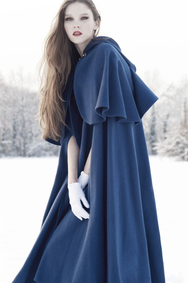 Maybe a cloak?  Love that blue and gloves.
