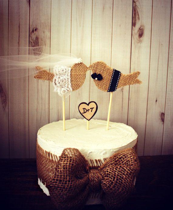 Burlap birds on a stickburlap birdswedding by MorganTheCreator
