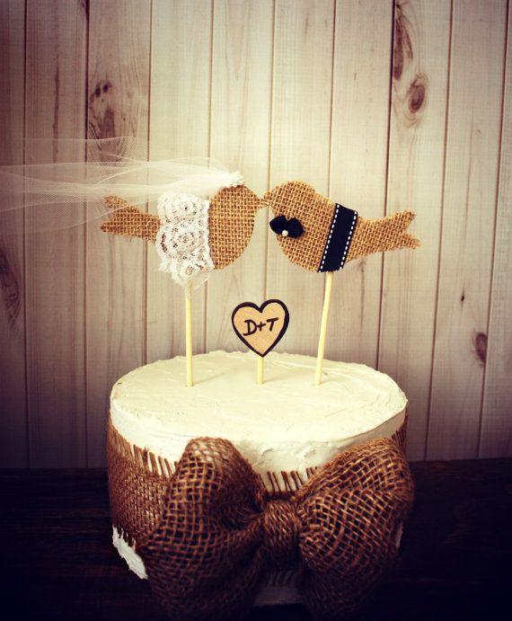 Burlap birds on a stickburlap birdswedding by MorganTheCreator