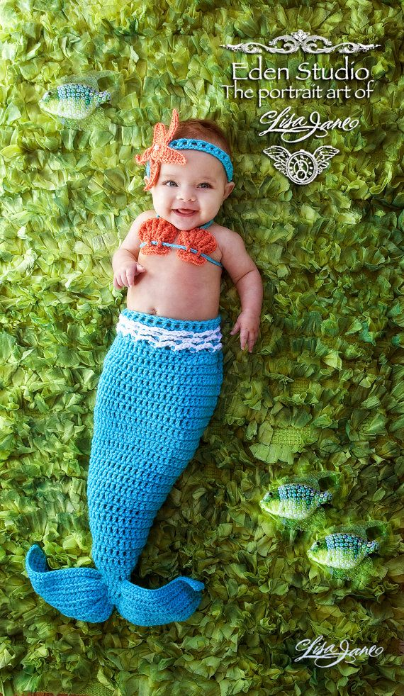 Crochet Mermaid Tail, Photo Prop Set - Newborn to 3 months - Photography Prop, Cocoon via Etsy
