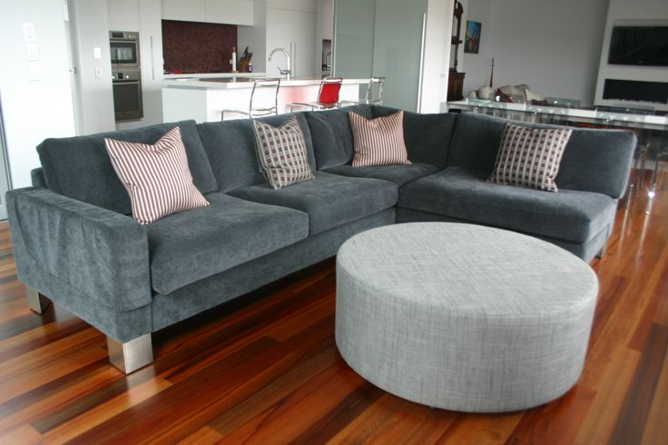 Designers' Collection Greenwich sectional sofa with Textilia fabric.  Designers' Collection 1000mm round Ottoman.