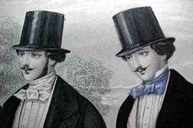 These men wear top hats, which were considered formal hats for men of the Romantic Period. During the Romantic Period, there were also collapsable top hats called gibuses.