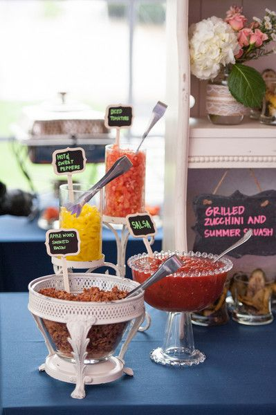 Wedding food display idea - different sauces in various dishes with chalkboard labels {Rachael Foster Photography}