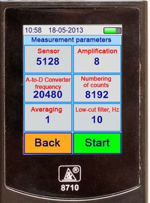 Vibration analyzer screen in the Measurement Parameters Mode