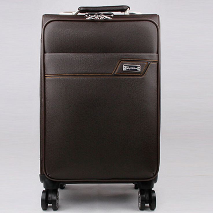136.02$  Buy here - http://alicdx.worldwells.pw/go.php?t=32390907725 - BOLO BRAVE Vintage trolley suitcase caster board chassis luggage lock PU leather travel box Business Men Trolley Luggages Bag 136.02$