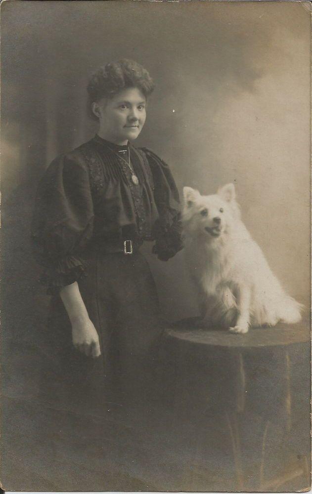 POMERANIAN SPITZ & WOMAN REAL PHOTOGRAPHIC DOG POSTCARD
