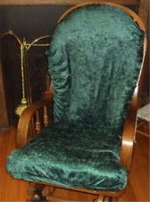 SlipCovers for Glider Rocking Chair Cushions- HUNTER GREEN CRUSHED VELOUR
