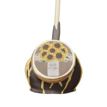 #Rustic Burlap Sunflower Country Mason Jar Wedding Cake Pops - #Chocolates #Treats #chocolate