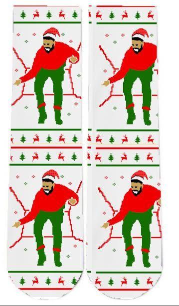 Drake-Themed Holiday Socks | 12 Wacky Socks For The Christmas Enthusiast