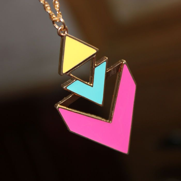 Europe and the United States the triangular geometry fluorescent candy colored punk hit color the necklace ,lowest price shop at Gofavor.us