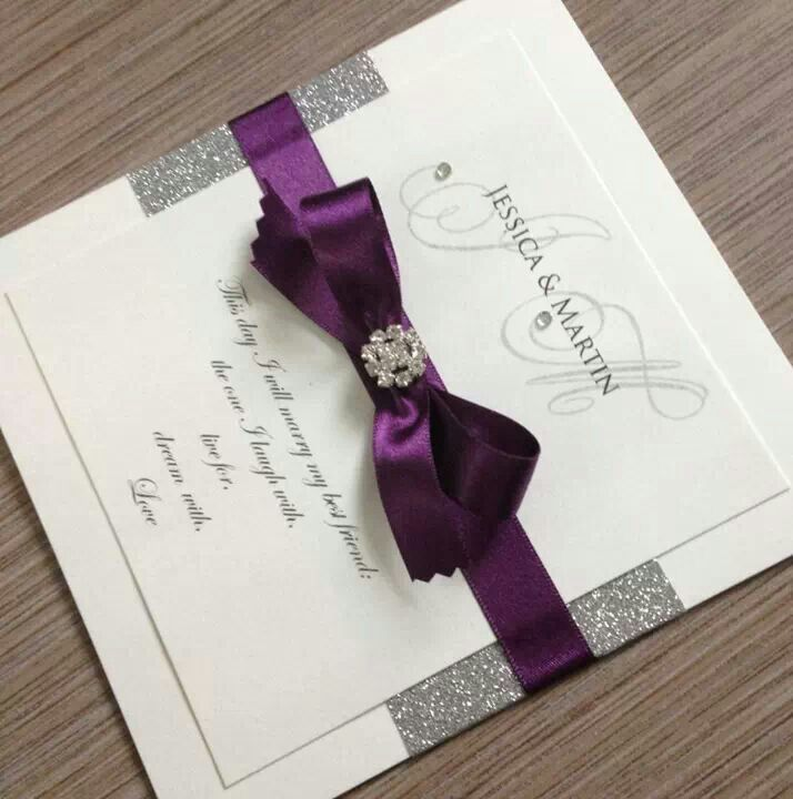 Purple Wedding Card More