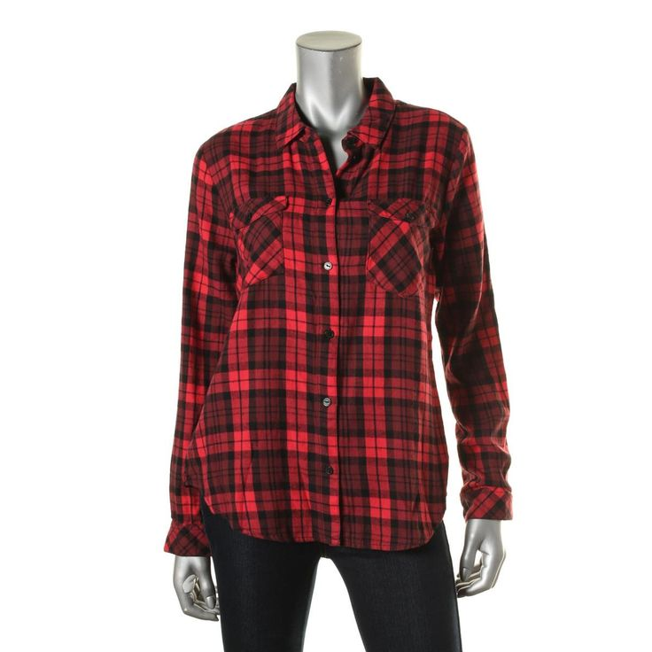 Sanctuary Womens Flannel Plaid Button-Down Top