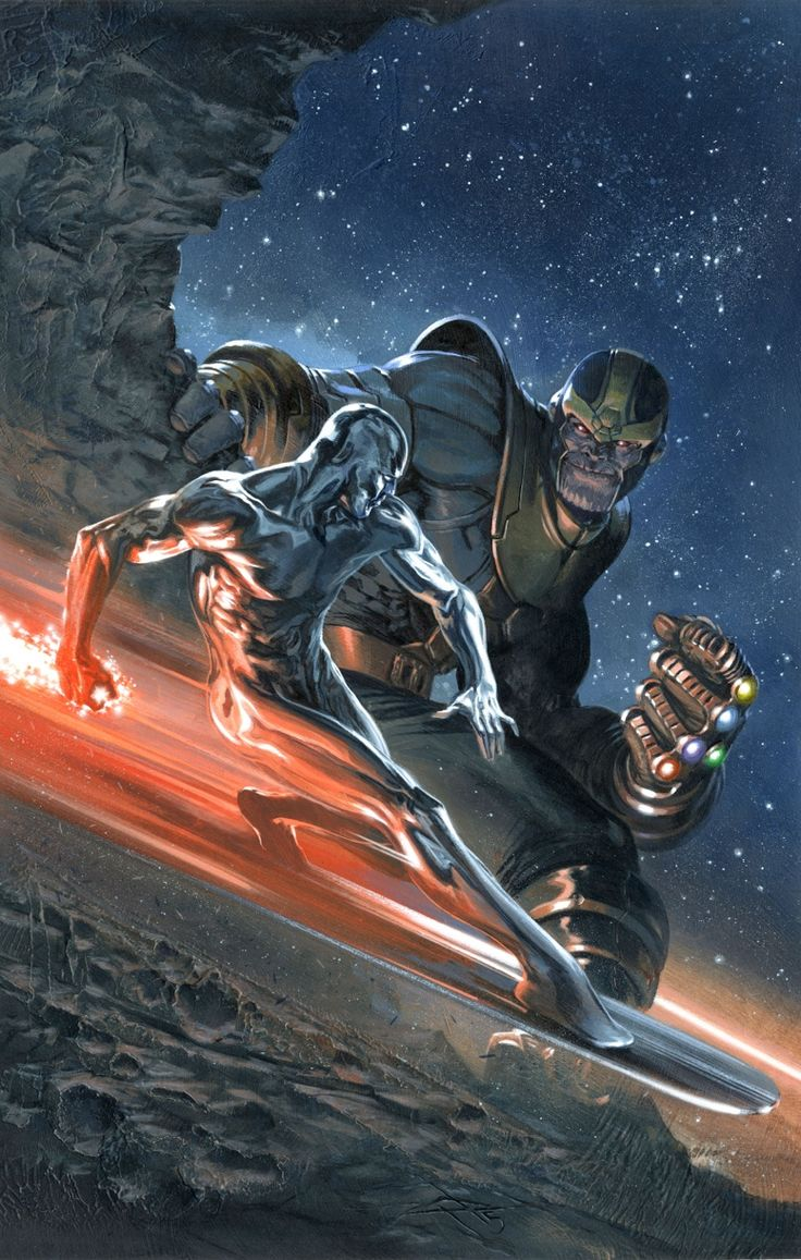 Silver Surfer vs Thanos: Secret Wars #4 cover by Gabriele Dell'Otto ... This is BADASS!!!