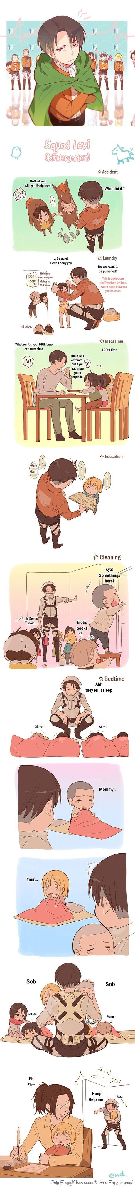 Attack of the Kindergardeners! This can be a new anime, because Levi and Hanji are considerably older then everybody else.