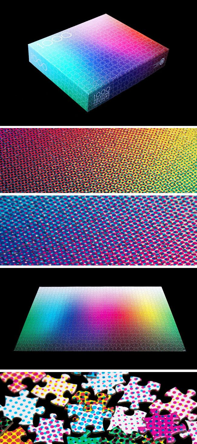 A dizzying sibling to our best-selling 1,000 Colors Puzzle, the 1,000 Colors Halftone Puzzle adds a layer of intrigue by reproducing each color in halftone. The printing technique uses dots of various size, spacing, and CMYK colors to create a broad spectrum of tones - and creates an especially tricky color field. The puzzle's creator suggests that it may not be as tough as it looks, though, becoming more an act of intuition than a visual guessing game.