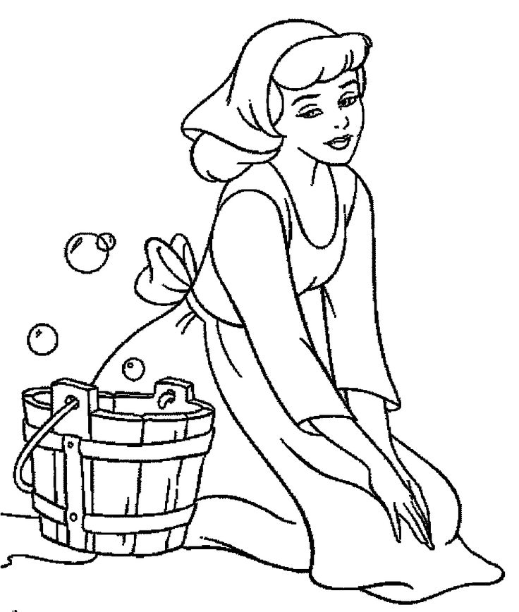 Cinderella Will Wash Clothes Coloring Pages For Kids #cGU