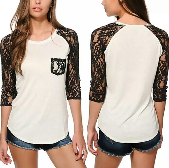 Long Sleeve with Lace Tee Shirt White Long Sleeve with Black Lace  Tee Shirt  This is NWOT Retail. Price Firm Unless Bundled. Measurements available upon request. Tops Tees - Long Sleeve