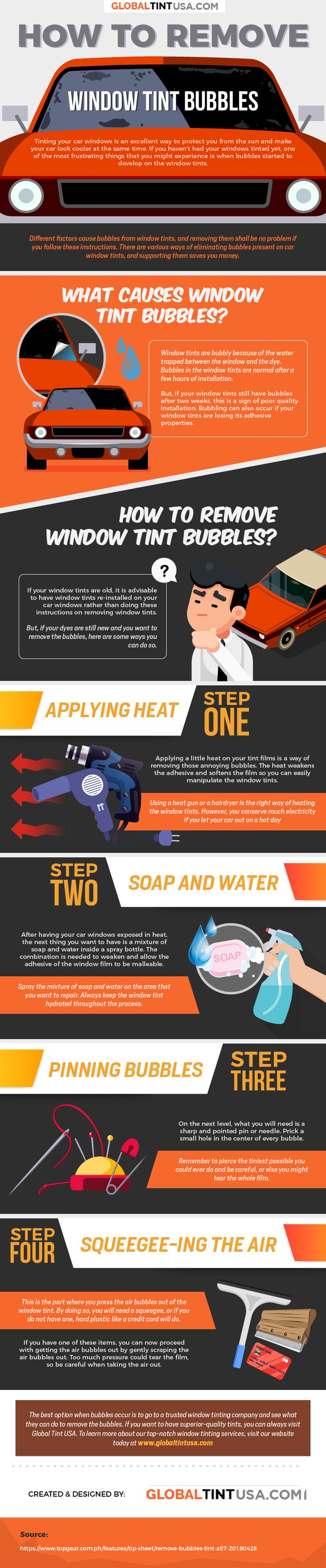 How to remove window tint bubbles infographic tinted