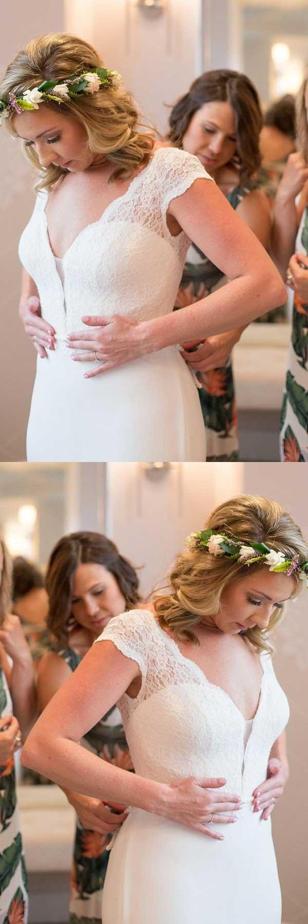 Customized Colorful Wedding Dress Lace, Mermaid Wedding Dress, V Neck Wedding Dress