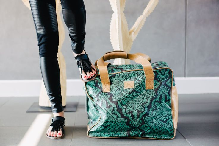 Large Weekender - Persia Emerald on Charcoal