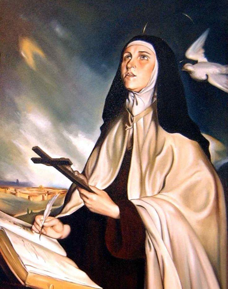 """Saint Teresa D`Avila, com frequência se gloriava de portar o escapulário de Nossa Senhora do Carmo """"como indigna carmelita"""". E zelava para que suas religiosas não deixassem de dormir com ele posto. Dirigindo-se a elas, escrevia: """"Só posso confiar na misericórdia do Senhor… e nos merecimentos de Seu Filho e da Virgem Maria Santíssima, Sua Mãe, cujo hábito indignamente trago e vós trazeis""""."""