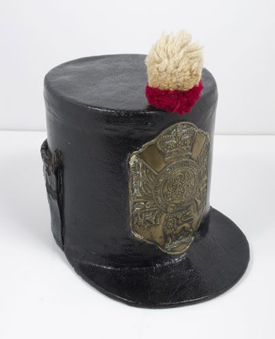Shako, British Army issue, 1808-12. The name 'shako' derives from the Hungarian for peaked cap.