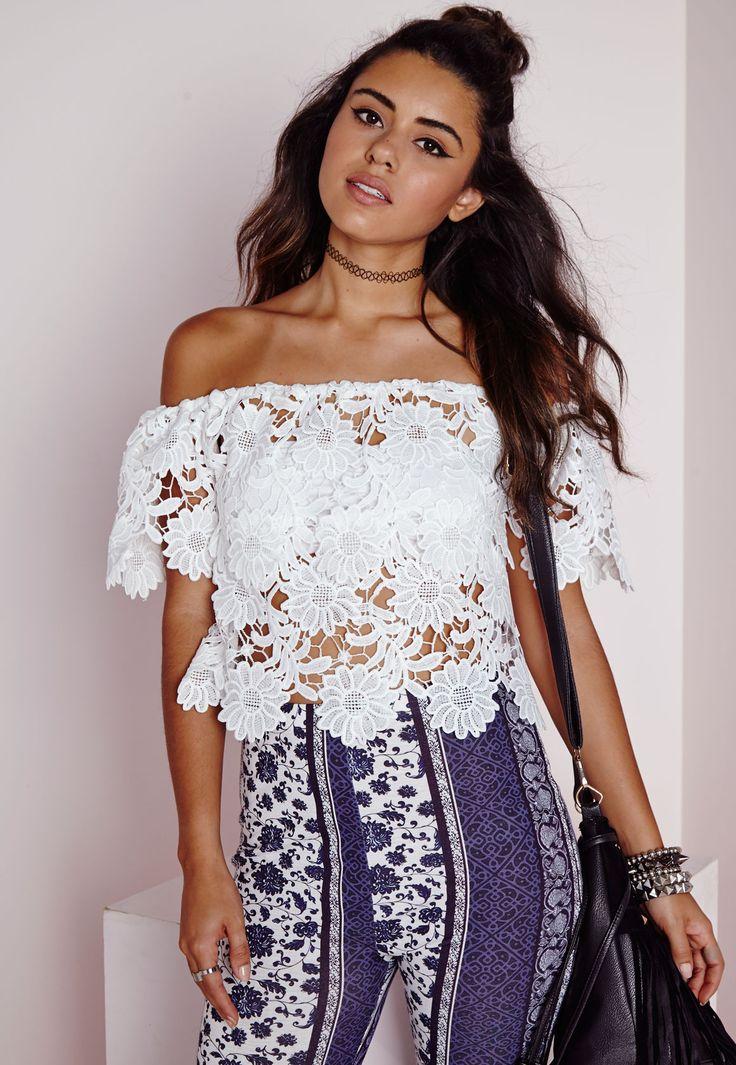 64b6782a0ea4d3 Crochet Lace Bardot Top White