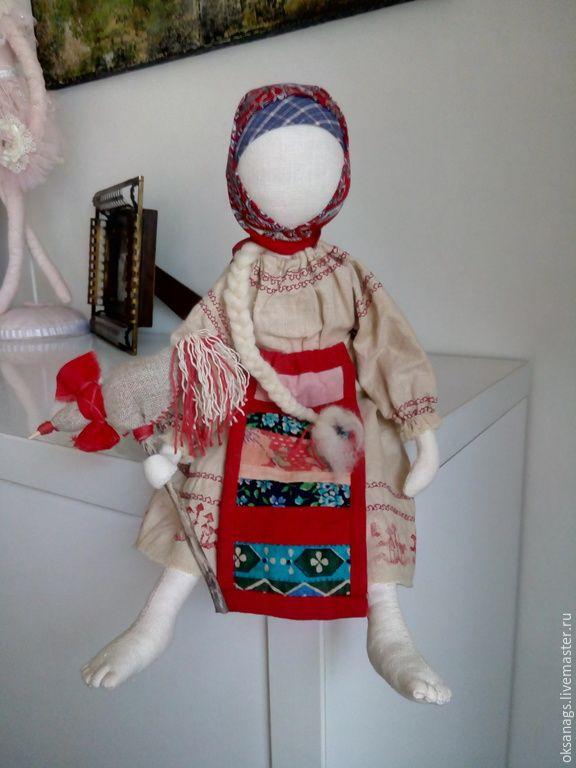 Купить кукла народная ДЕВОЧКА С ПЕТУШКОМ - бежевый, кукла ручной работы, кукла интерьерная