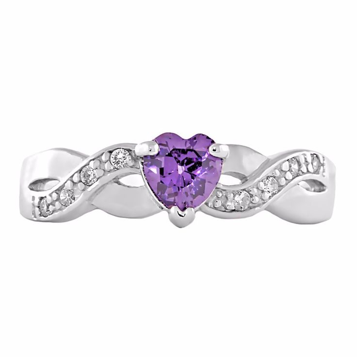 Padma: 0.6c Heart-cut Amethyst Ice CZ Crossover Infinity Promise Ring