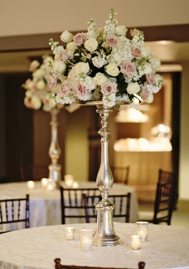 ivory and blush centerpiece | tall ivory and blush centerpiece | msu riley center reception