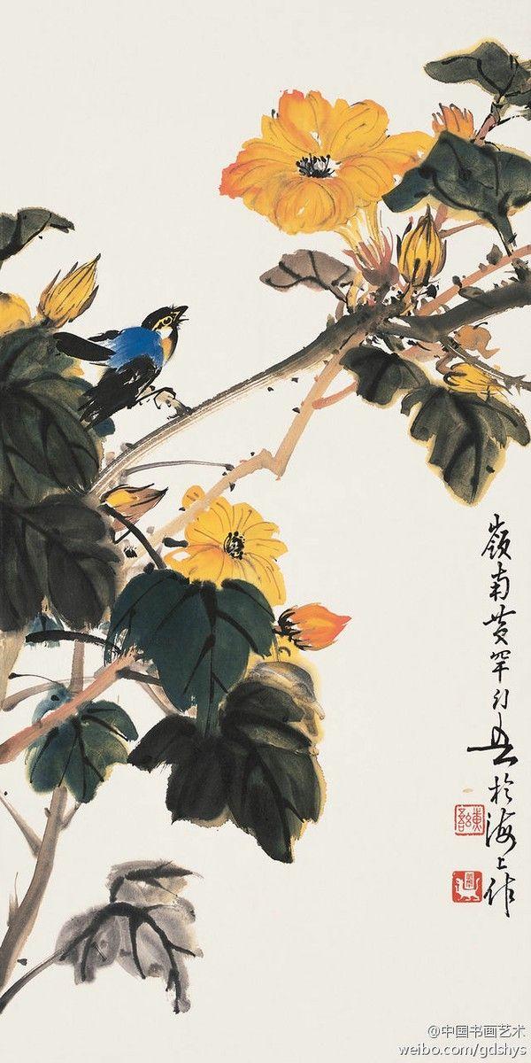 鸟语花香 (flowers), by 黄幻吾 Huáng Huàn-Wú (1906-1985), Lingnan Master -- See more at: http://www.lingnanart.com/2013_L_Master/L-master-hang-ch.htm