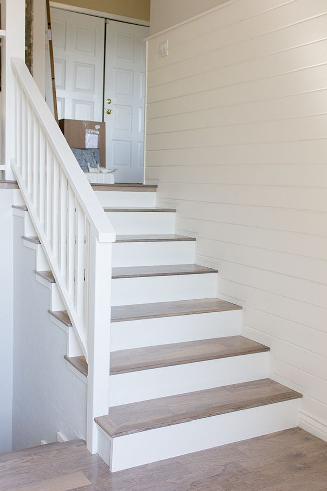 stairs of engineered wood and mdf board painted white
