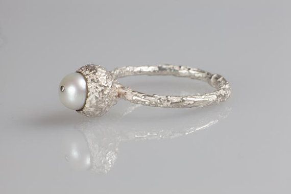 Silver Acorn Ring with Pearl  Woodland Inspired by NyamiJewelry