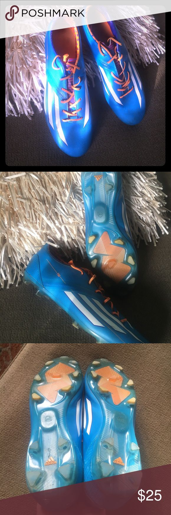 Adidas f30 men's soccer cleats size 11 Bright blue and orange f30 men's soccer cleats. Good condition. adidas Shoes Athletic Shoes