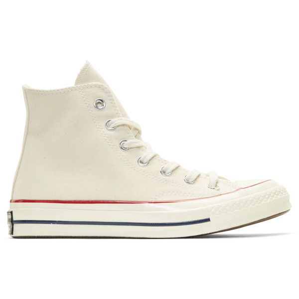 Converse Off-White Chuck Taylor All-Star 70 High-Top Sneakers ($71) ❤ liked on Polyvore featuring shoes, sneakers, star sneakers, off white sneakers, canvas high top sneakers, vintage high top sneakers and off white shoes