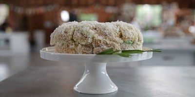 Try this Pandan Lamington Cake  recipe by Chef Fiona.This recipe is from the show The Great Australian Bake Off.