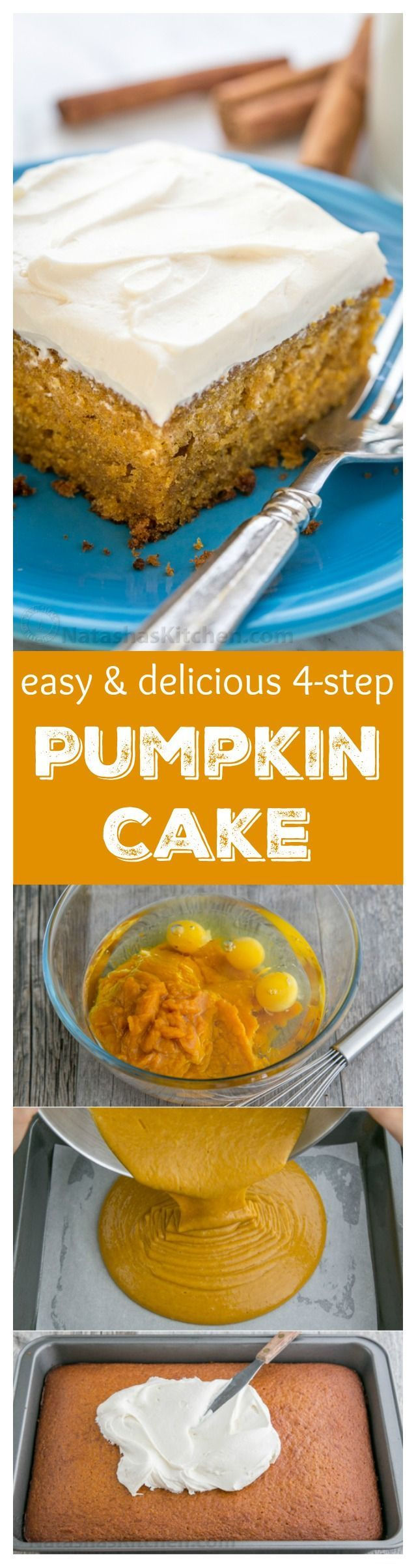 This Easy Pumpkin Cake is done in 4 steps (with frosting)! This pumpkin cake recipe has a  moist, delicate crumb and marshmallow-like whipped cream cheese frosting is irresistible!